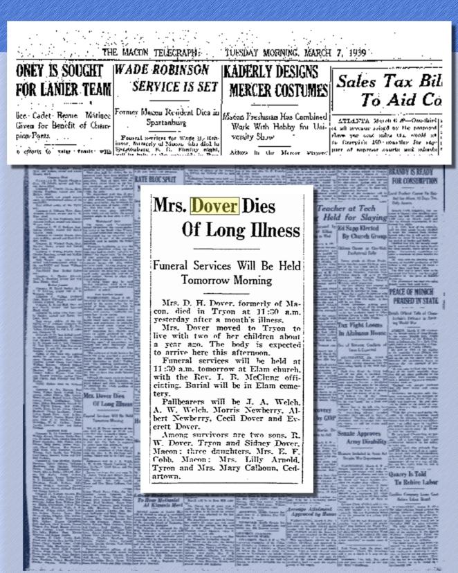 Dover, Eliza Manus Dover obituary